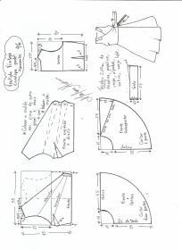 Esquema de modelagem de vestido vintage envelope tamanho 46.