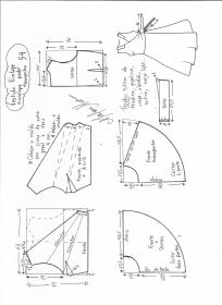 Esquema de modelagem de vestido vintage envelope tamanho 54.