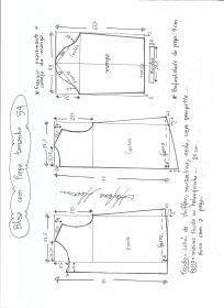Esquema de modelagem de blusa com prega e manga tamanho 54.