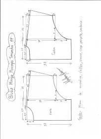 Esquema de modelagem de blusa manga morcego tamanho PP.
