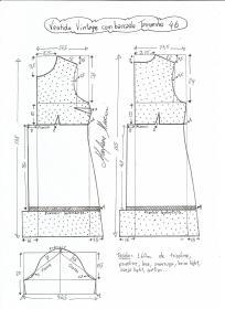 Esquema de modelagem de vestido vintage com babado tamanho 46.