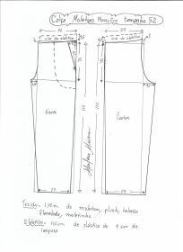 Esquema de modelagem de calça de moletom masculina tamanho 52.