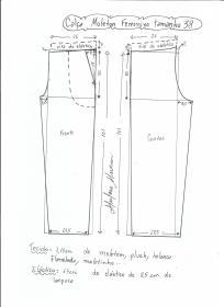 Esquema de modelagem de calça de moletom feminina tamanho 38.