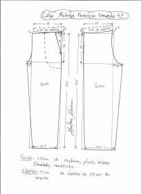 Esquema de modelagem de calça de moletom tamanho 42.