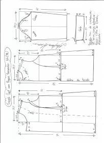 Esquema de modelagem de trench coat tamanho GG.