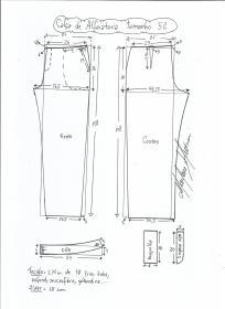 Esquema de modelagem de calça alfaiataria tamanho 52.