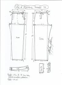 Esquema de modelagem de calça alfaiataria tamanho 54.