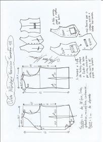 Esquema de modelagem de colete feminino alfaiataria tamanho 48.