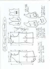 Esquema de modelagem de colete feminino alfaiataria tamanho 50.