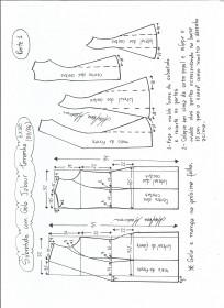 Esquema de modelagem de Sobretudo com gola jabour tamanho EXGG. 1ª Parte.