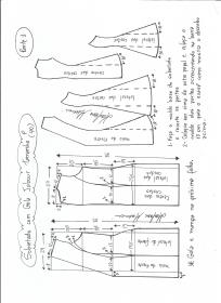 Esquema de modelagem de Sobretudo com gola jabour tamanho P. 1ª Parte.