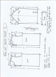 Esquema de modelagem de blusa com abertura na frente e costas tamanho 38.