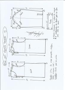 Esquema de modelagem de blusa com abertura na frente e costas tamanho 46.