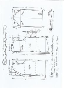 Esquema de modelagem de blusa com abertura e meio colarinho tamanho 40.