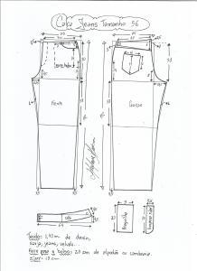 Esquema de modelagem de calça jeans tradicional tamanho 56.