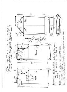 Esquema de modelagem de camisa sem pences tamanho 52.