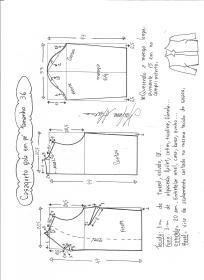Esquema de modelagem de casaqueto gola alta com manga 3/4 tamanho 36.