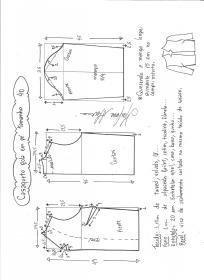 Esquema de modelagem de casaqueto gola alta com manga 3/4 tamanho 40.