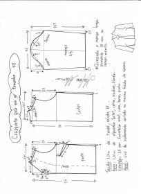 Esquema de modelagem de casaqueto gola alta com manga 3/4 tamanho 48.