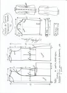 Esquema de modelagem de vestido inverno chamesier tamanho 46.