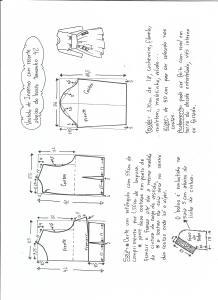 Esquema de modelagem de vestido de inverno com recorte abaixo do busto tamanho 42.