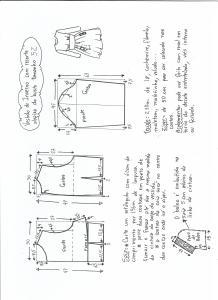 Esquema de modelagem de vestido de inverno com recorte abaixo do busto tamanho 52.