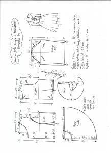Esquema de modelagem de vestido gola ampla tamanho 40.