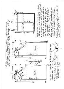 Esquema de modelagem de blusa com cava americana e manga tamanho 38.