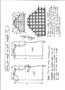 Esquema de modelagem de blusa com manga em tiras tamanho 38.