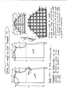Esquema de modelagem de blusa com manga em tiras tamanho 48.