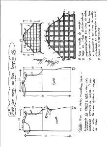 Esquema de modelagem de blusa com manga em tiras tamanho 56.