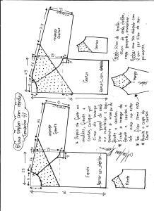 Esquema de modelagem de blusa raglan com recortes tamanho 48.