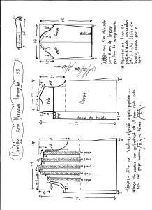 Esquema de modelagem de camisa com nervuras tamanho 38.