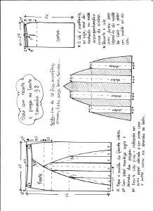Esquema de modelagem de saia com recorte vertical e pregas tamanho 38.