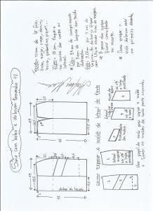 Esquema de modelagem de saia com bolsos e debrum tamanho 48.