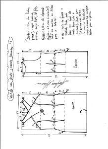 Esquema de modelagem de vestido tubinho com decote cruzado tamanho 48.