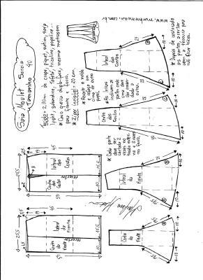 Esquema de modelagem de saia mulet sereia tamanho 40.