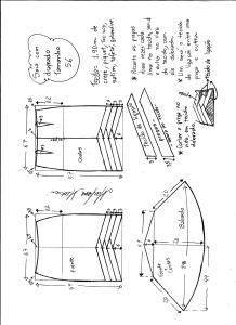 Esquema de modelagem de saia sino com pregas diagonais tamanho 56.