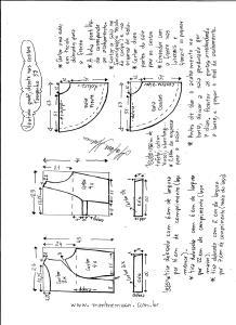 Esquema de modelagem de vestido godê com decote nas costas tamanho 38.
