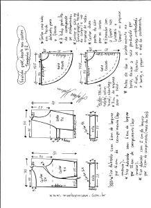 Esquema de modelagem de vestido godê com decote nas costas tamanho 52.