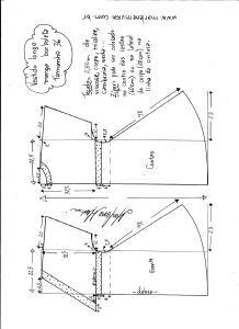 Esquema de modelagem de vestido longo, manga borboleta e recorte abaixo do busto tamanho 36.