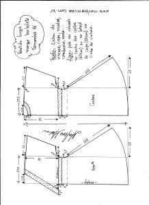 Esquema de modelagem de vestido longo, manga borboleta e recorte abaixo do busto tamanho 46.