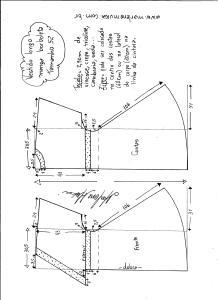 Esquema de modelagem de vestido longo, manga borboleta e recorte abaixo do busto tamanho 52.