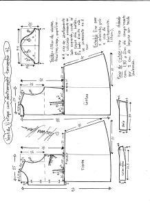 Esquema de modelagem de vestido vintage com botões na frente tamanho 42.