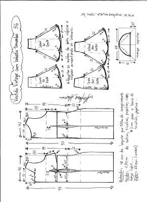 Esquema de modelagem de vestido vintage com babado na barra tamanho 56.