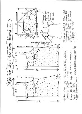 Esquema de modelagem de blusa com alça e meia manga tamanho 36.