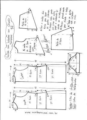 Esquema de modelagem de vestido em camadas tamanho 52.