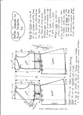 Esquema de modelagem de vestido drapeado com pregas tamanho 36.