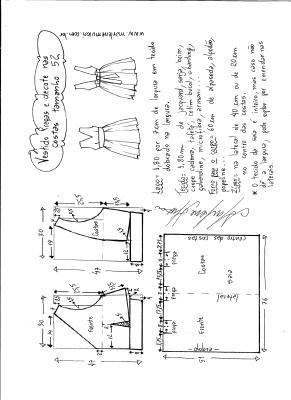 Esquema de modelagem de vestido com pregas e decote nas costas tamanho 52.