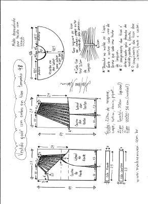 Esquema de modelagem de vestido godê com tiras no ombro tamanho 48.